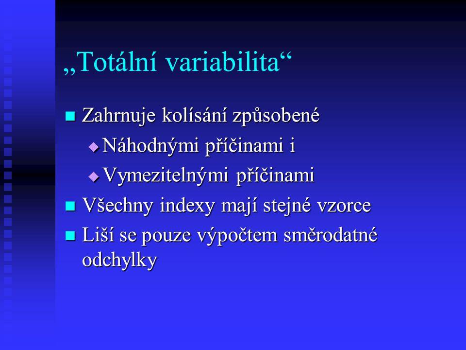 """""""Totální variabilita Zahrnuje kolísání způsobené Zahrnuje kolísání způsobené  Náhodnými příčinami i  Vymezitelnými příčinami Všechny indexy mají stejné vzorce Všechny indexy mají stejné vzorce Liší se pouze výpočtem směrodatné odchylky Liší se pouze výpočtem směrodatné odchylky"""