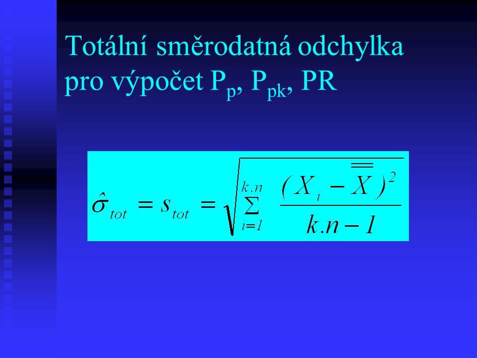 Totální směrodatná odchylka pro výpočet P p, P pk, PR