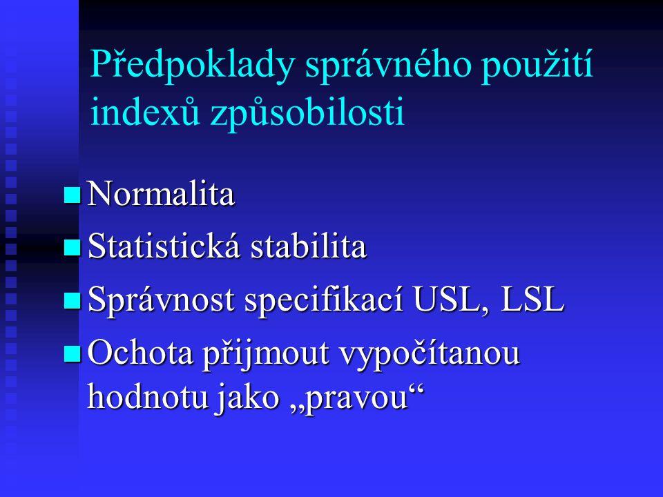 """Předpoklady správného použití indexů způsobilosti Normalita Normalita Statistická stabilita Statistická stabilita Správnost specifikací USL, LSL Správnost specifikací USL, LSL Ochota přijmout vypočítanou hodnotu jako """"pravou Ochota přijmout vypočítanou hodnotu jako """"pravou"""