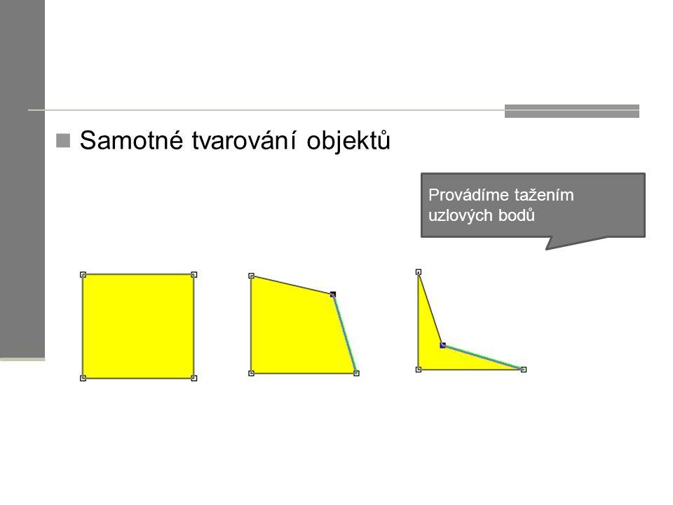 Samotné tvarování objektů Provádíme tažením uzlových bodů