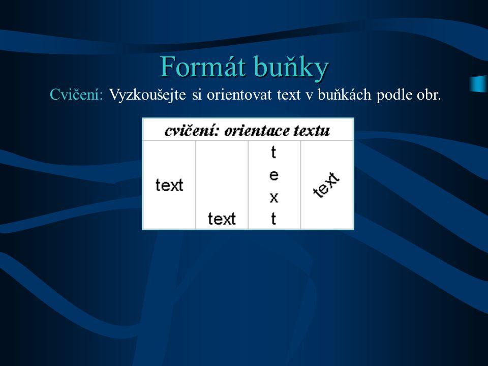 Formát buňky - provádíme pomocí dialogového okna – Formát – Buňky.