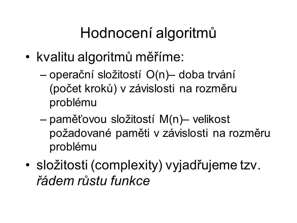 Hodnocení algoritmů kvalitu algoritmů měříme: –operační složitostí O(n)– doba trvání (počet kroků) v závislosti na rozměru problému –paměťovou složitostí M(n)– velikost požadované paměti v závislosti na rozměru problému složitosti (complexity) vyjadřujeme tzv.