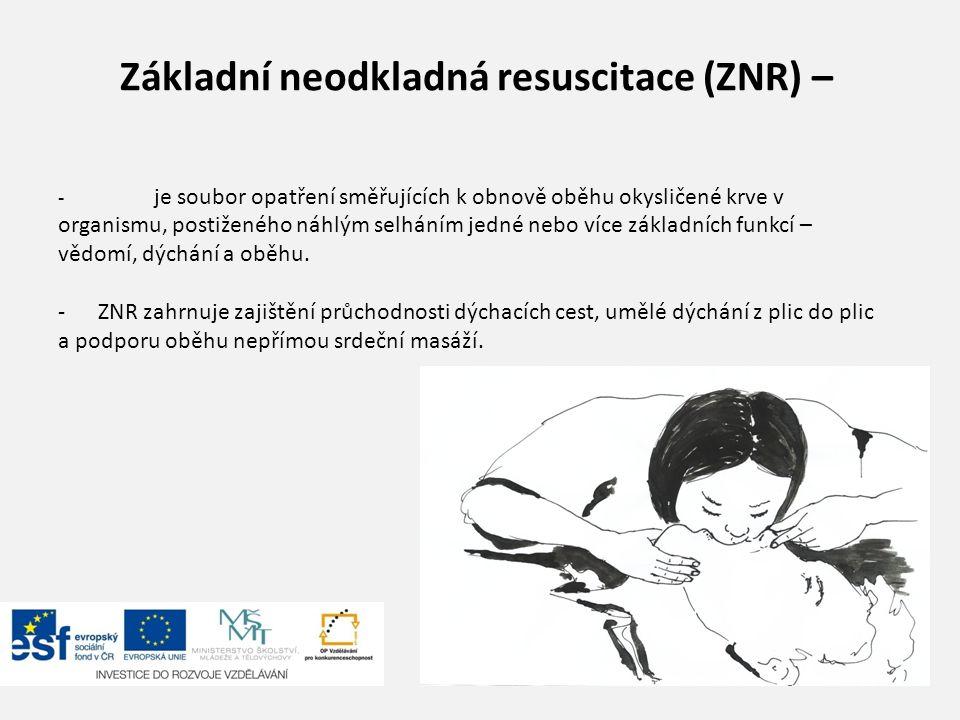 """Koncepce """"Řetězu přežití Účelný postup při NR formuluje koncepce """"Řetězu přežití , který se skládá ze čtyř článků: 1.Časná výzva - časné rozpoznání závažnosti stavu a přivolání pomoci - aktivace ZZS (155, 112) nebo místního záchranného systému 2.Časná NR - časné zahájení kardiopulmonální resuscitace svědky příhody 3.Časná defibrilace 4.Časná další opatření- rozšířená NR a postresuscitační péče"""