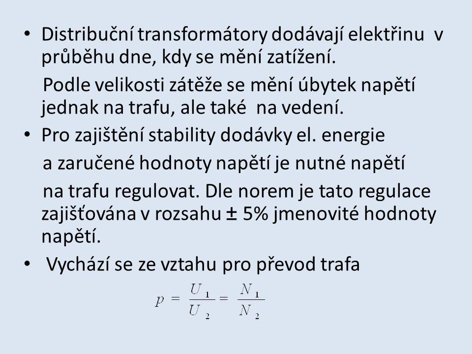 Distribuční transformátory dodávají elektřinu v průběhu dne, kdy se mění zatížení. Podle velikosti zátěže se mění úbytek napětí jednak na trafu, ale t