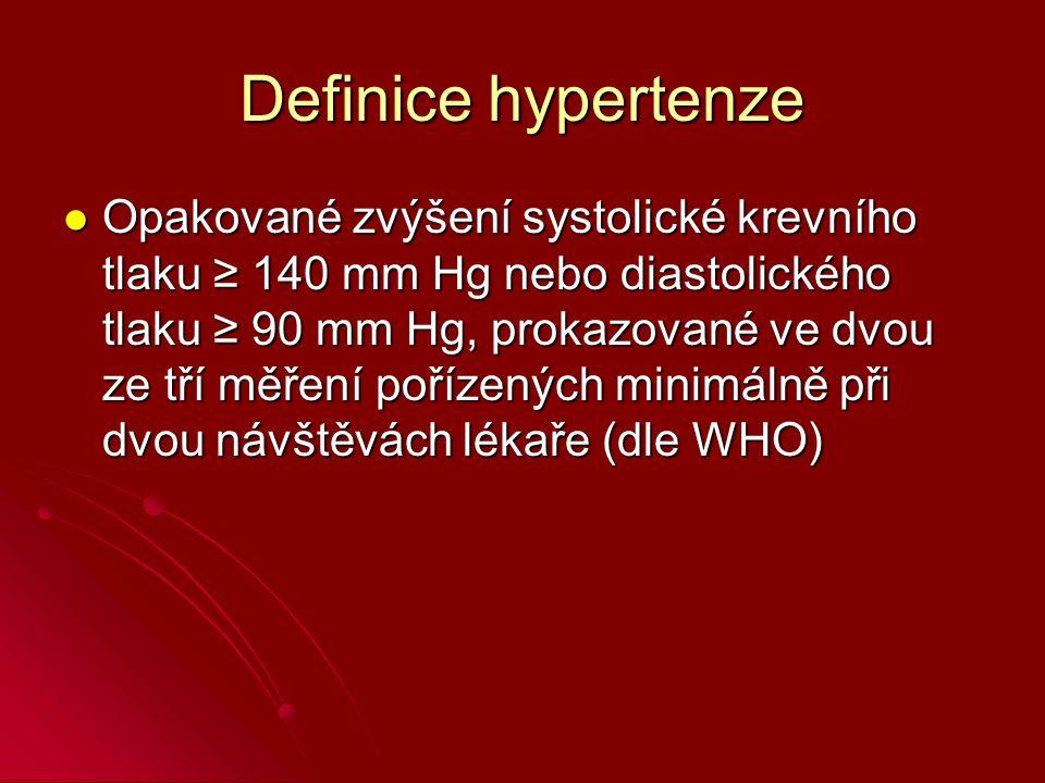 Definice hypertenze Opakované zvýšení systolické krevního tlaku ≥ 140 mm Hg nebo diastolického tlaku ≥ 90 mm Hg, prokazované ve dvou ze tří měření pořízených minimálně při dvou návštěvách lékaře (dle WHO) Opakované zvýšení systolické krevního tlaku ≥ 140 mm Hg nebo diastolického tlaku ≥ 90 mm Hg, prokazované ve dvou ze tří měření pořízených minimálně při dvou návštěvách lékaře (dle WHO)