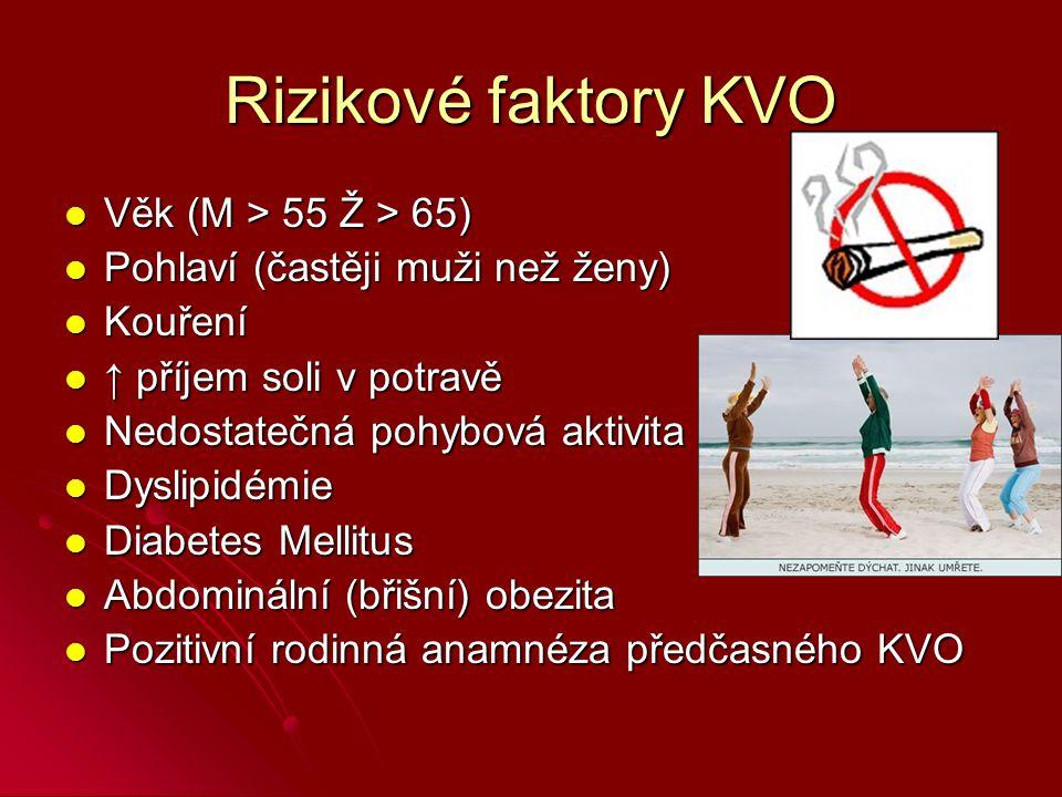 Rizikové faktory KVO Věk (M > 55 Ž > 65) Věk (M > 55 Ž > 65) Pohlaví (častěji muži než ženy) Pohlaví (častěji muži než ženy) Kouření Kouření ↑ příjem soli v potravě ↑ příjem soli v potravě Nedostatečná pohybová aktivita Nedostatečná pohybová aktivita Dyslipidémie Dyslipidémie Diabetes Mellitus Diabetes Mellitus Abdominální (břišní) obezita Abdominální (břišní) obezita Pozitivní rodinná anamnéza předčasného KVO Pozitivní rodinná anamnéza předčasného KVO