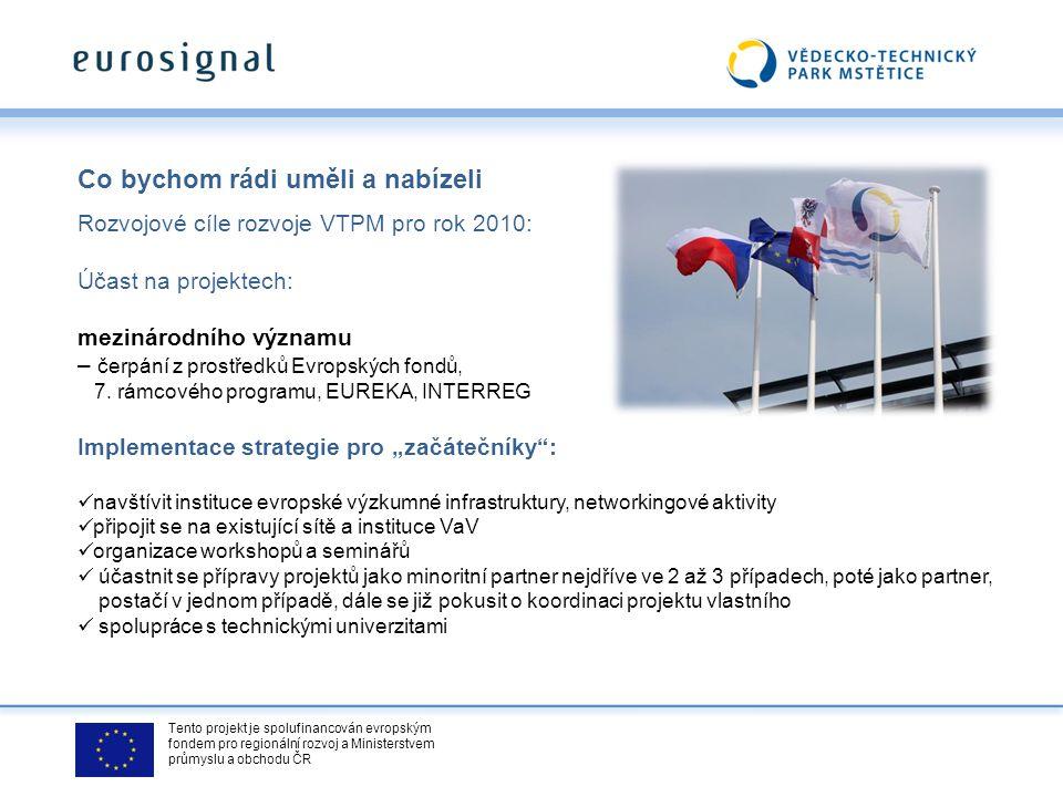 Tento projekt je spolufinancován evropským fondem pro regionální rozvoj a Ministerstvem průmyslu a obchodu ČR Co bychom rádi uměli a nabízeli Rozvojov