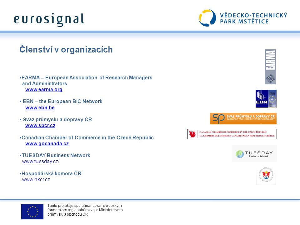 Tento projekt je spolufinancován evropským fondem pro regionální rozvoj a Ministerstvem průmyslu a obchodu ČR Členství v organizacích  EARMA – Europe