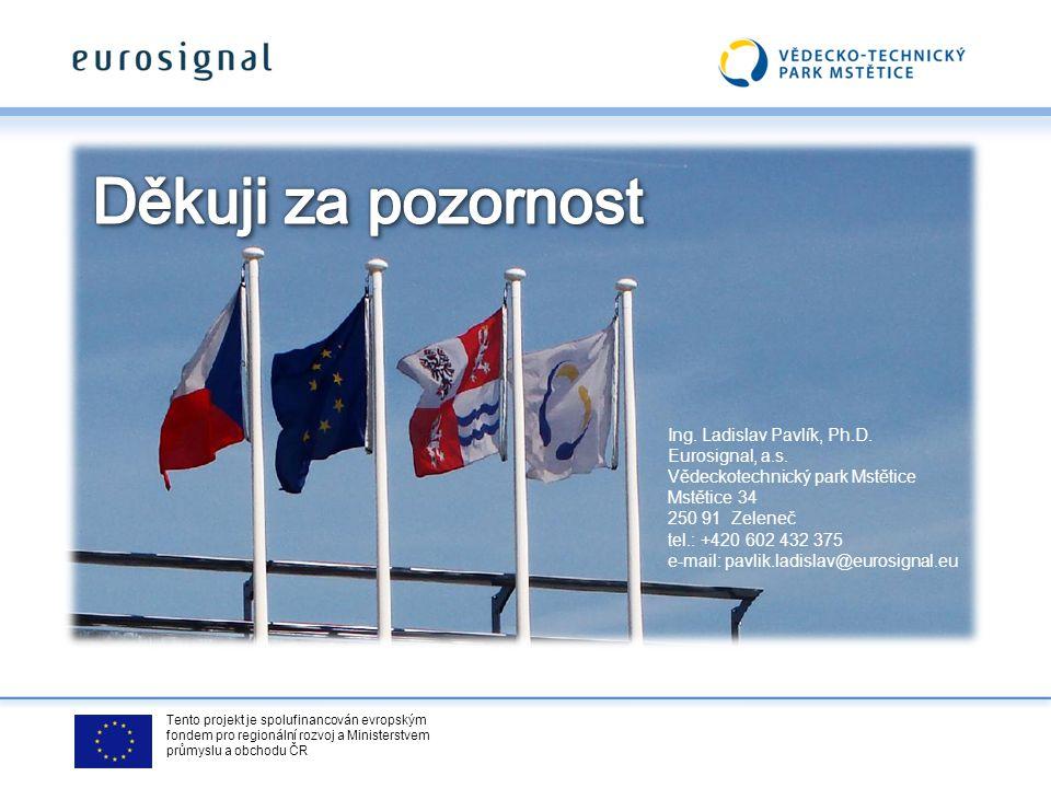 Tento projekt je spolufinancován evropským fondem pro regionální rozvoj a Ministerstvem průmyslu a obchodu ČR Ing. Ladislav Pavlík, Ph.D. Eurosignal,