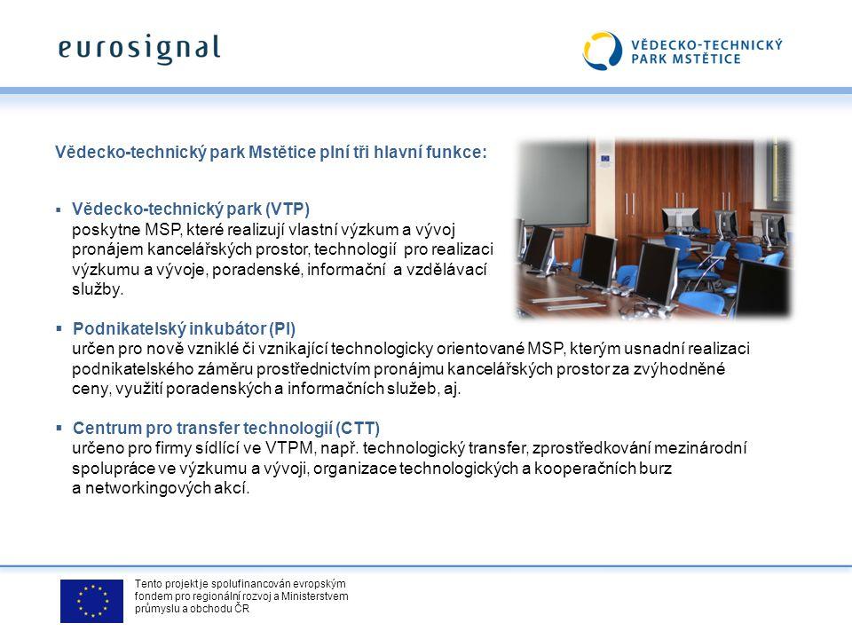 Tento projekt je spolufinancován evropským fondem pro regionální rozvoj a Ministerstvem průmyslu a obchodu ČR Dlouhodobým strategickým cílem Vědecko-technického parku je: technologicky orientovaným společnostem, které realizují výsledky vlastního výzkumu a vývoje poskytovat: pronájem kancelářských prostor včetně základního vybavení pronájem prostor a technologií pro realizaci výzkumu a vývoje možnost využívání poradenských, informačních a vzdělávacích služeb, poskytovaných Centrem pro transfer technologií podnikatelské a marketingové poradenské služby, zaměřené na rozvoj začínajících společností služby zkušebních laboratoří