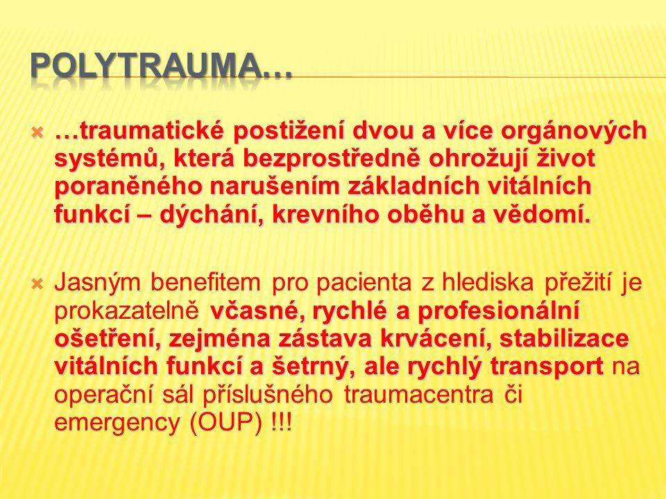 …traumatické postižení dvou a více orgánových systémů, která bezprostředně ohrožují život poraněného narušením základních vitálních funkcí – dýchání
