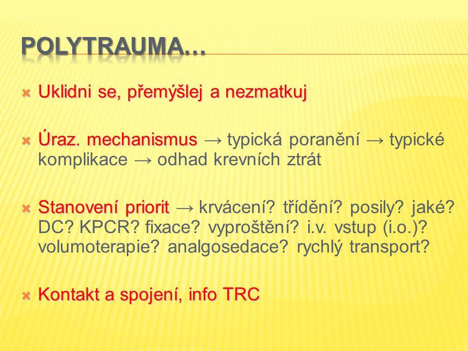  Uklidni se, přemýšlej a nezmatkuj  Úraz. mechanismus  Úraz. mechanismus → typická poranění → typické komplikace → odhad krevních ztrát  Stanovení