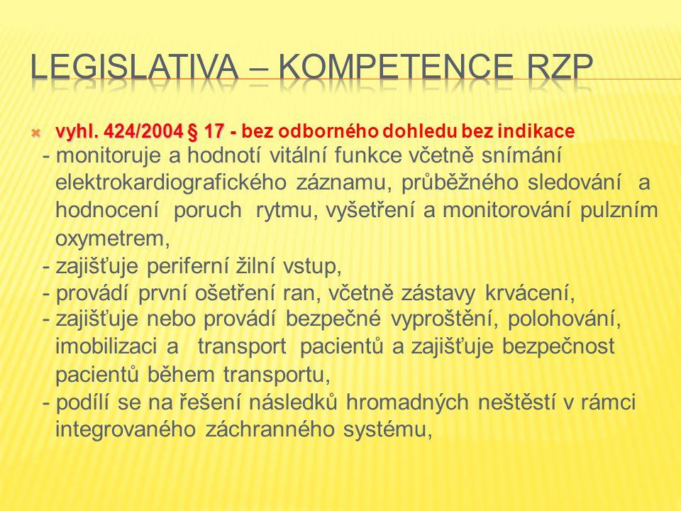  vyhl. 424/2004 § 17 -  vyhl. 424/2004 § 17 - bez odborného dohledu bez indikace - monitoruje a hodnotí vitální funkce včetně snímání elektrokardiog