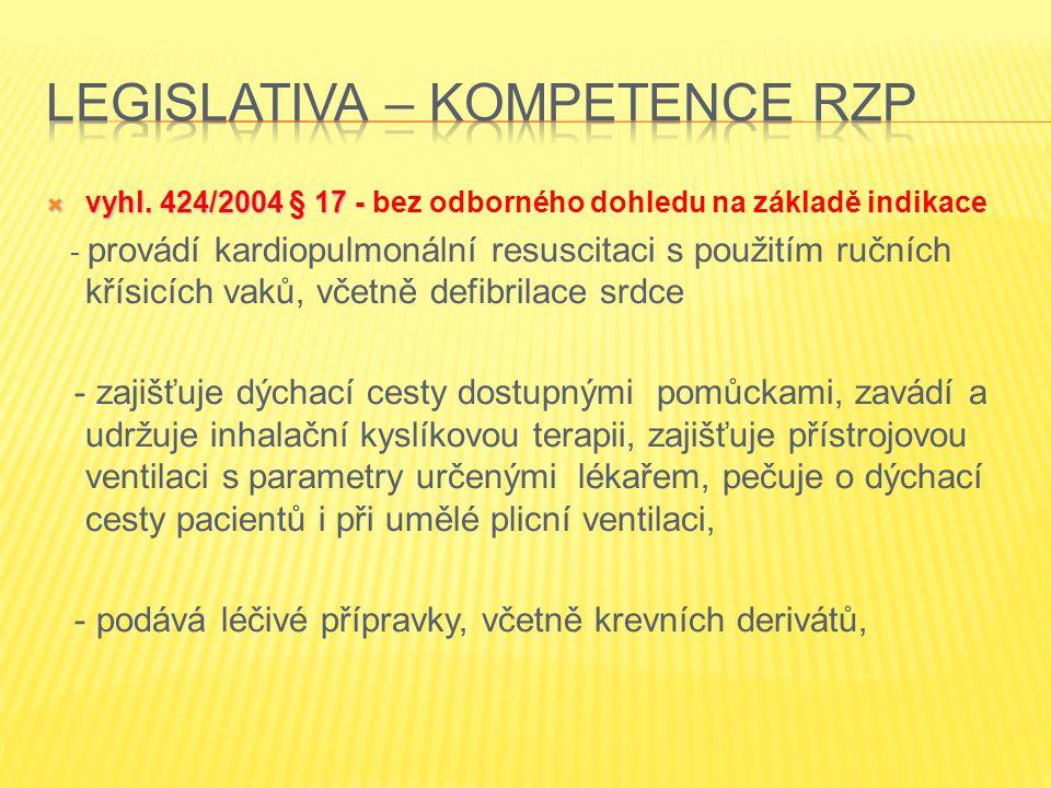  vyhl. 424/2004 § 17 -  vyhl. 424/2004 § 17 - bez odborného dohledu na základě indikace - provádí kardiopulmonální resuscitaci s použitím ručních kř