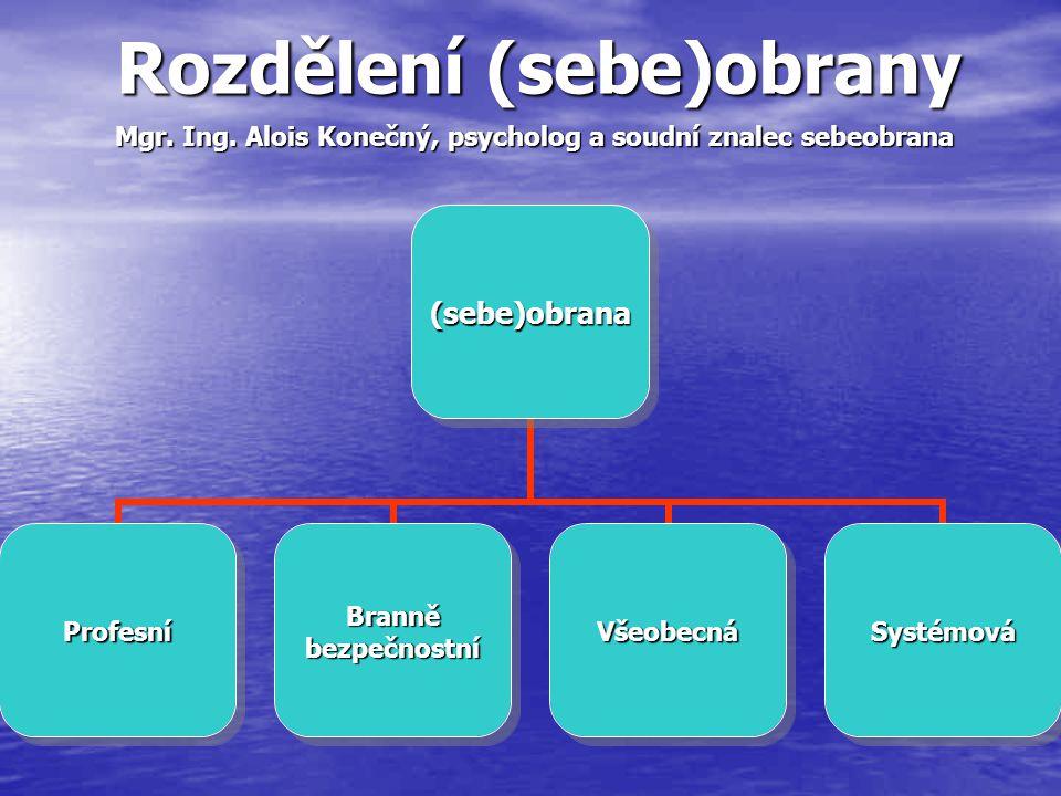 Rozdělení (sebe)obrany (sebe)obrana ProfesníBranněbezpečnostníVšeobecnáSystémová Mgr. Ing. Alois Konečný, psycholog a soudní znalec sebeobrana