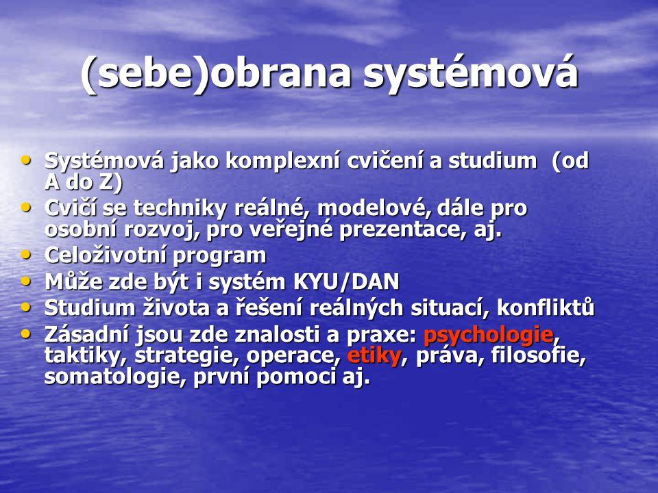 (sebe)obrana systémová Systémová jako komplexní cvičení a studium (od A do Z) Systémová jako komplexní cvičení a studium (od A do Z) Cvičí se techniky