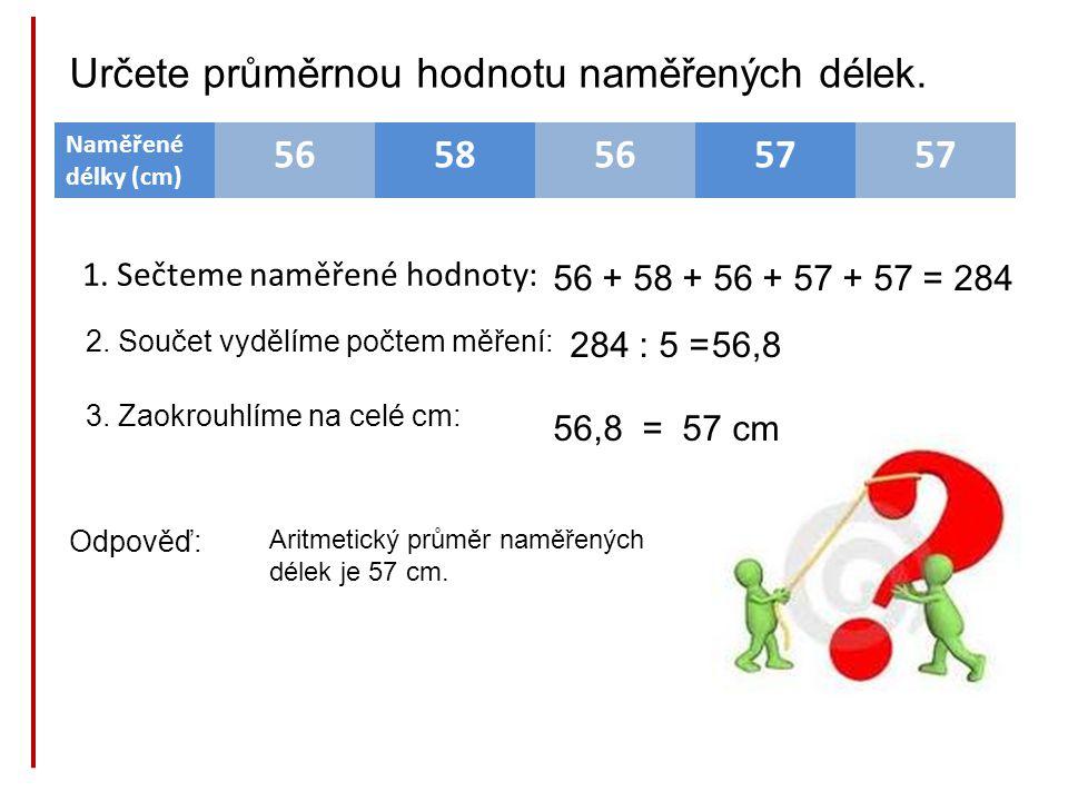 Naměřené délky (cm) 56585657 1. Sečteme naměřené hodnoty: 56 + 58 + 56 + 57 + 57 =284 2. Součet vydělíme počtem měření: 284 : 5 =56,8 3. Zaokrouhlíme