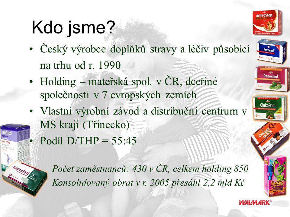 Kdo jsme? Český výrobce doplňků stravy a léčiv působící na trhu od r. 1990 Holding – mateřská spol. v ČR, dceřiné společnosti v 7 evropských zemích Vl