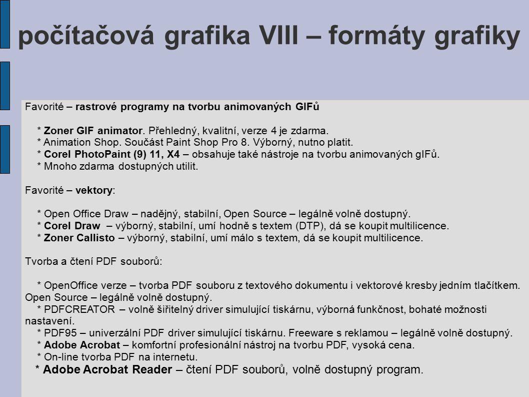 počítačová grafika VIII – formáty grafiky Favorité – rastrové programy na tvorbu animovaných GIFů * Zoner GIF animator. Přehledný, kvalitní, verze 4 j