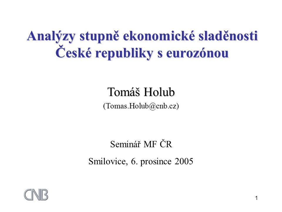 1 Analýzy stupně ekonomické sladěnosti České republiky s eurozónou Tomáš Holub (Tomas.Holub@cnb.cz) Seminář MF ČR Smilovice, 6.