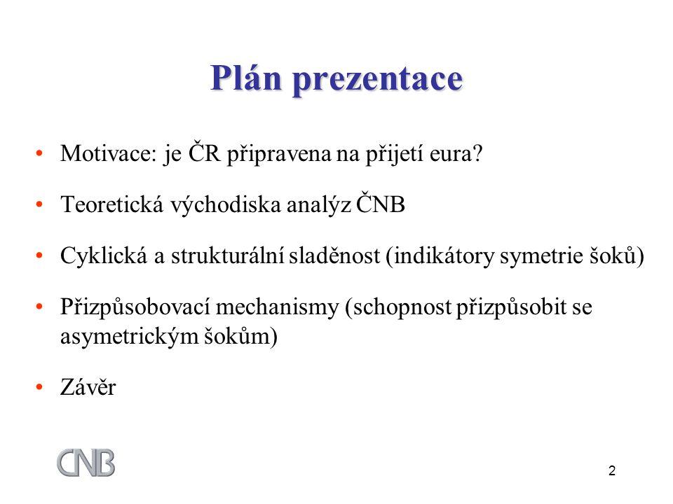 2 Plán prezentace Motivace: je ČR připravena na přijetí eura.