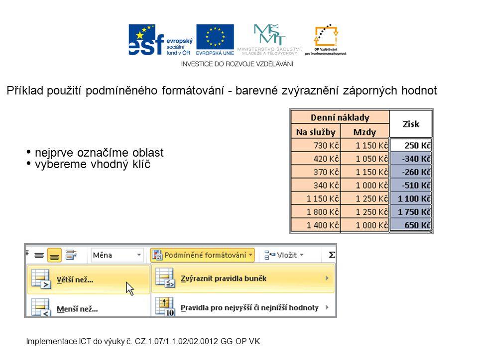 Implementace ICT do výuky č. CZ.1.07/1.1.02/02.0012 GG OP VK Příklad použití podmíněného formátování - barevné zvýraznění záporných hodnot nejprve ozn