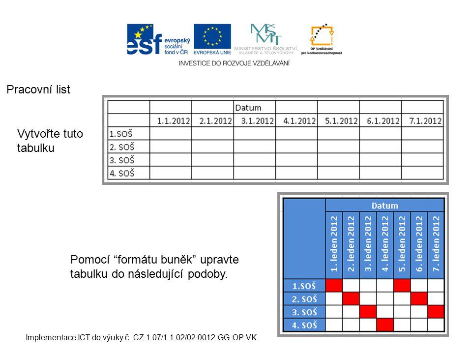 """Implementace ICT do výuky č. CZ.1.07/1.1.02/02.0012 GG OP VK Pracovní list Vytvořte tuto tabulku Pomocí """"formátu buněk"""" upravte tabulku do následující"""