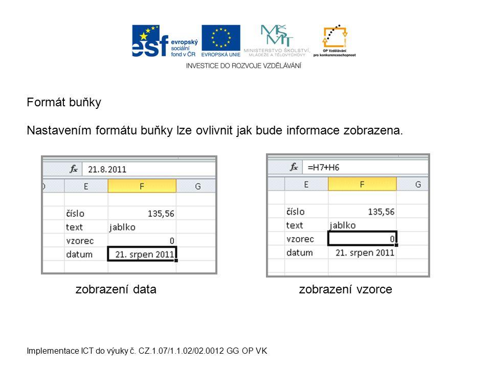 Implementace ICT do výuky č. CZ.1.07/1.1.02/02.0012 GG OP VK Formát buňky Nastavením formátu buňky lze ovlivnit jak bude informace zobrazena. zobrazen