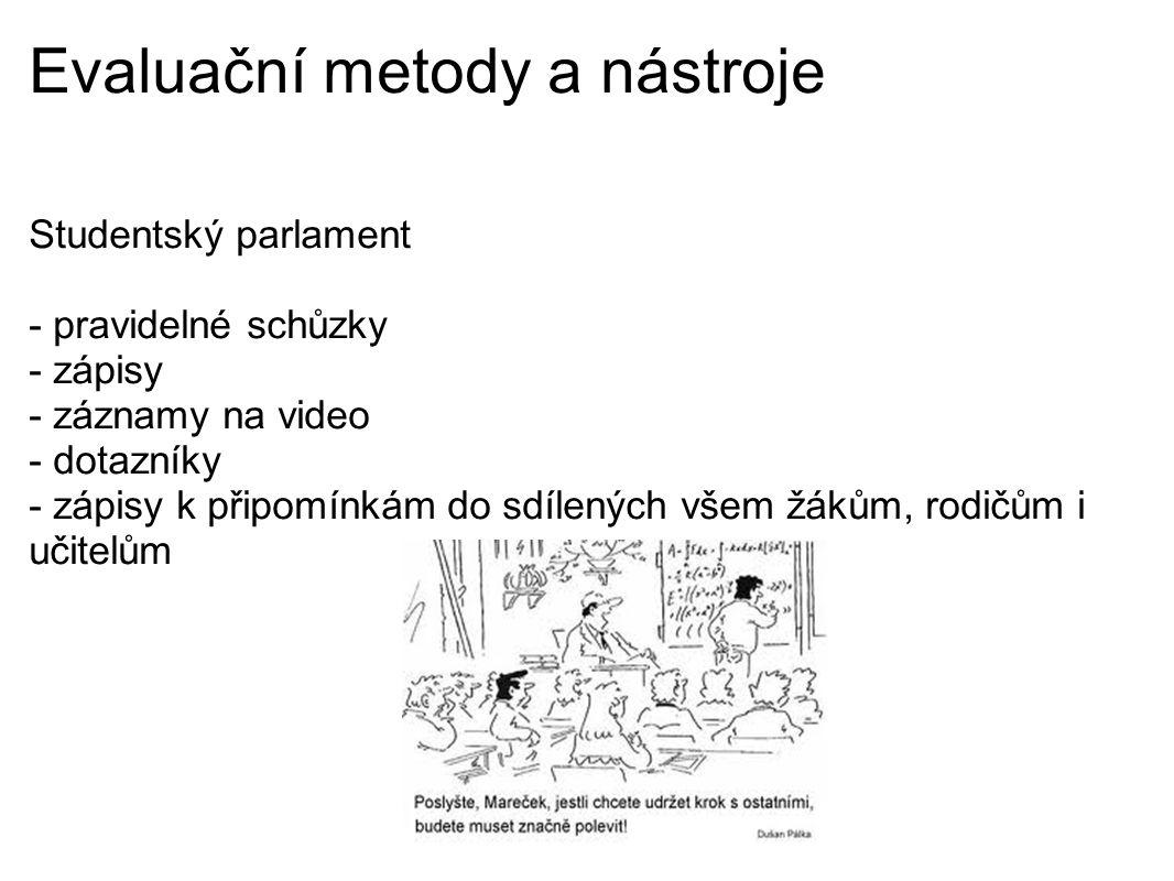 Evaluační metody a nástroje Studentský parlament - pravidelné schůzky - zápisy - záznamy na video - dotazníky - zápisy k připomínkám do sdílených všem žákům, rodičům i učitelům