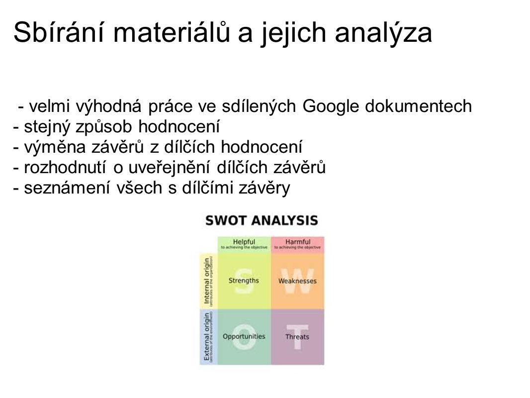 Sbírání materiálů a jejich analýza - velmi výhodná práce ve sdílených Google dokumentech - stejný způsob hodnocení - výměna závěrů z dílčích hodnocení - rozhodnutí o uveřejnění dílčích závěrů - seznámení všech s dílčími závěry