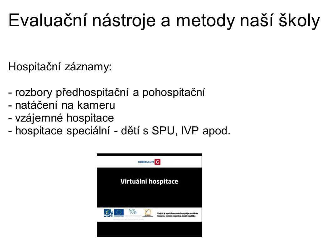 Evaluační nástroje a metody naší školy Hospitační záznamy: - rozbory předhospitační a pohospitační - natáčení na kameru - vzájemné hospitace - hospitace speciální - dětí s SPU, IVP apod.