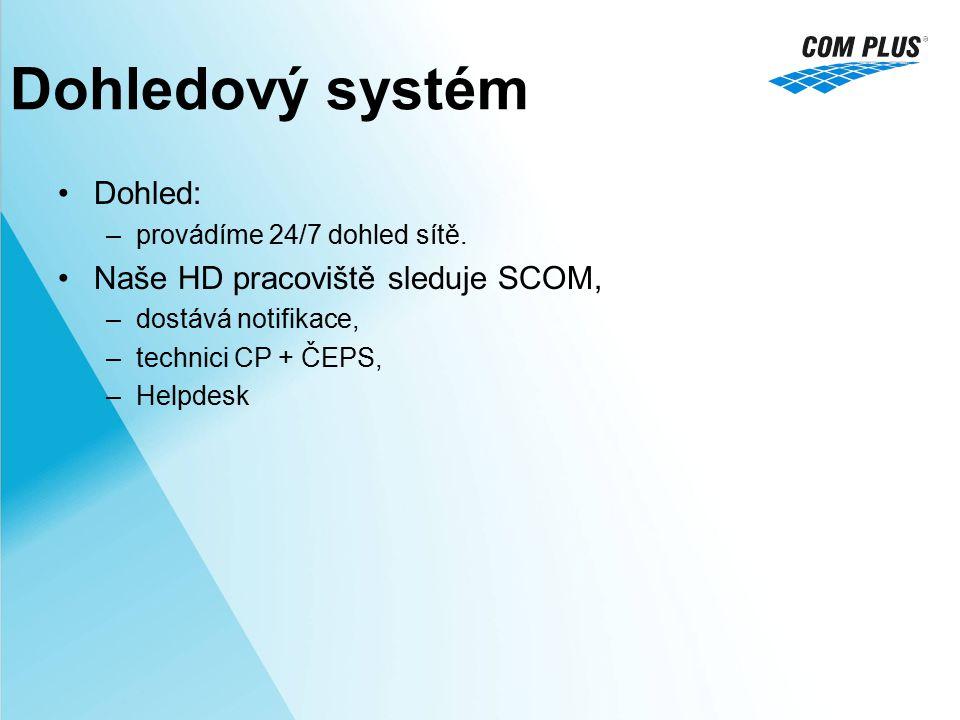 Dohled: –provádíme 24/7 dohled sítě. Naše HD pracoviště sleduje SCOM, –dostává notifikace, –technici CP + ČEPS, –Helpdesk