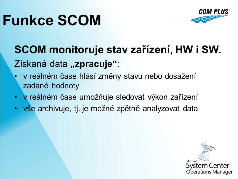 """Funkce SCOM SCOM monitoruje stav zařízení, HW i SW. Získaná data """"zpracuje"""": v reálném čase hlásí změny stavu nebo dosažení zadané hodnoty v reálném č"""