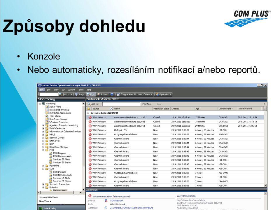 Způsoby dohledu Konzole Nebo automaticky, rozesíláním notifikací a/nebo reportů.