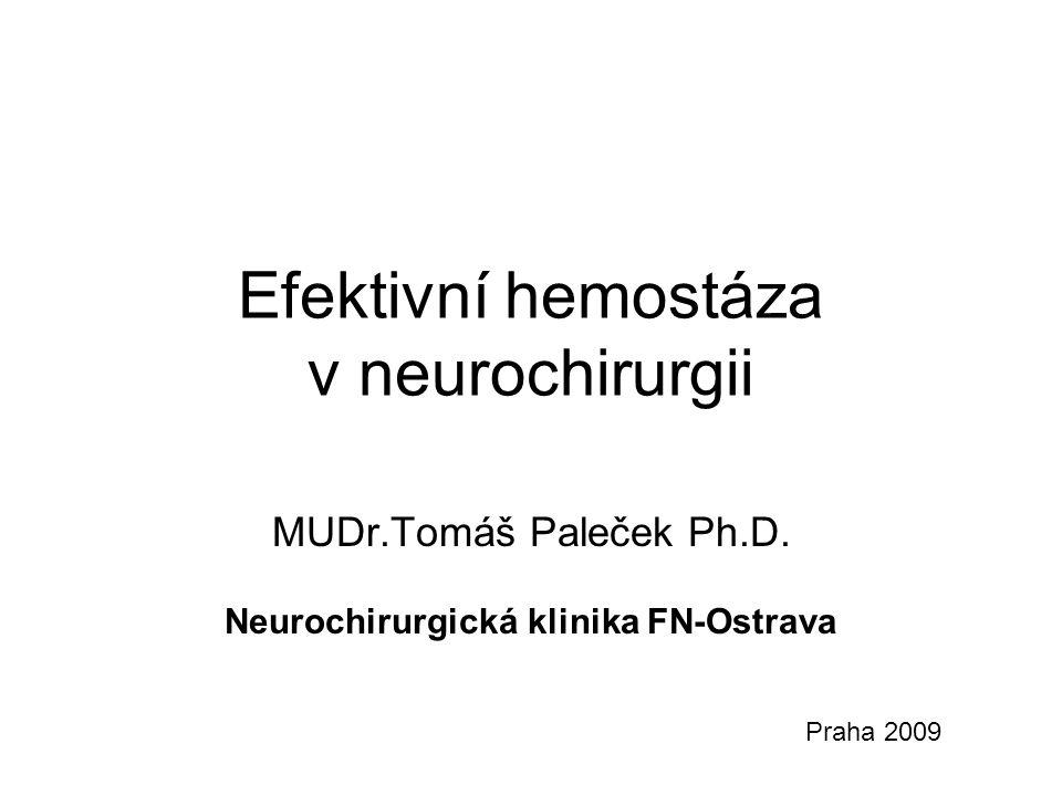 Efektivní hemostáza v neurochirurgii MUDr.Tomáš Paleček Ph.D. Neurochirurgická klinika FN-Ostrava Praha 2009