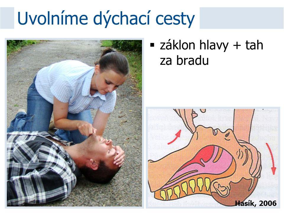  záklon hlavy + tah za bradu Uvolníme dýchací cesty Hasík, 2006