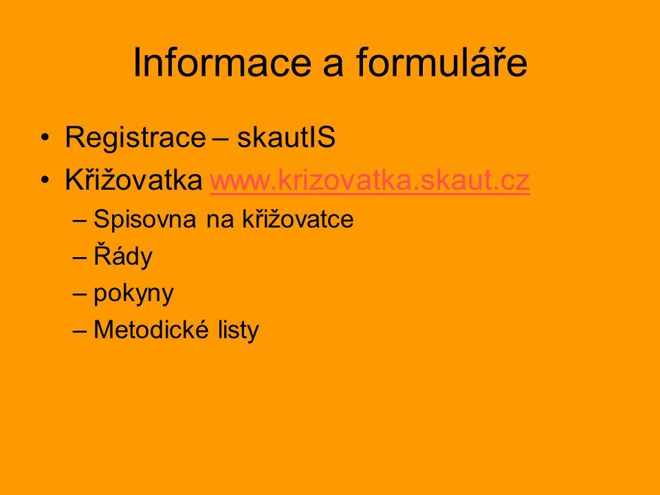 Informace a formuláře Registrace – skautIS Křižovatka www.krizovatka.skaut.czwww.krizovatka.skaut.cz –Spisovna na křižovatce –Řády –pokyny –Metodické listy