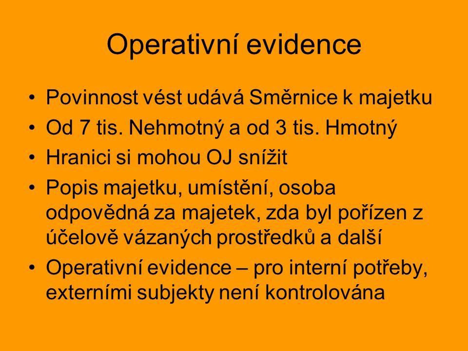 Operativní evidence Povinnost vést udává Směrnice k majetku Od 7 tis.