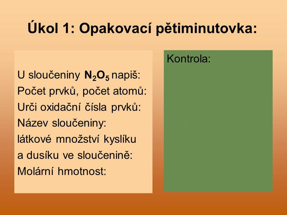 Úkol 1: Opakovací pětiminutovka: U sloučeniny N 2 O 5 napiš: Počet prvků, počet atomů: Urči oxidační čísla prvků: Název sloučeniny: látkové množství k