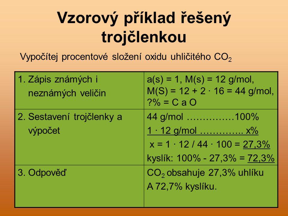 Úkol 2: Vyjádři hmotnostními zlomky: Vyjádři hmotnostními zlomky složení uhličitanu hořečnatého, který obsahuje 29% Mg, 14% C a 57% O.