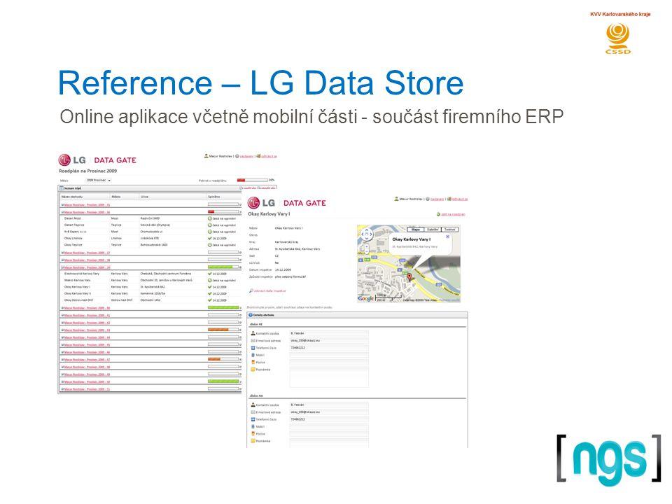 Reference – LG Data Store Online aplikace včetně mobilní části - součást firemního ERP