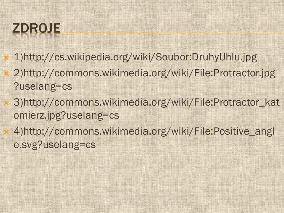  1)http://cs.wikipedia.org/wiki/Soubor:DruhyUhlu.jpg  2)http://commons.wikimedia.org/wiki/File:Protractor.jpg ?uselang=cs  3)http://commons.wikimed