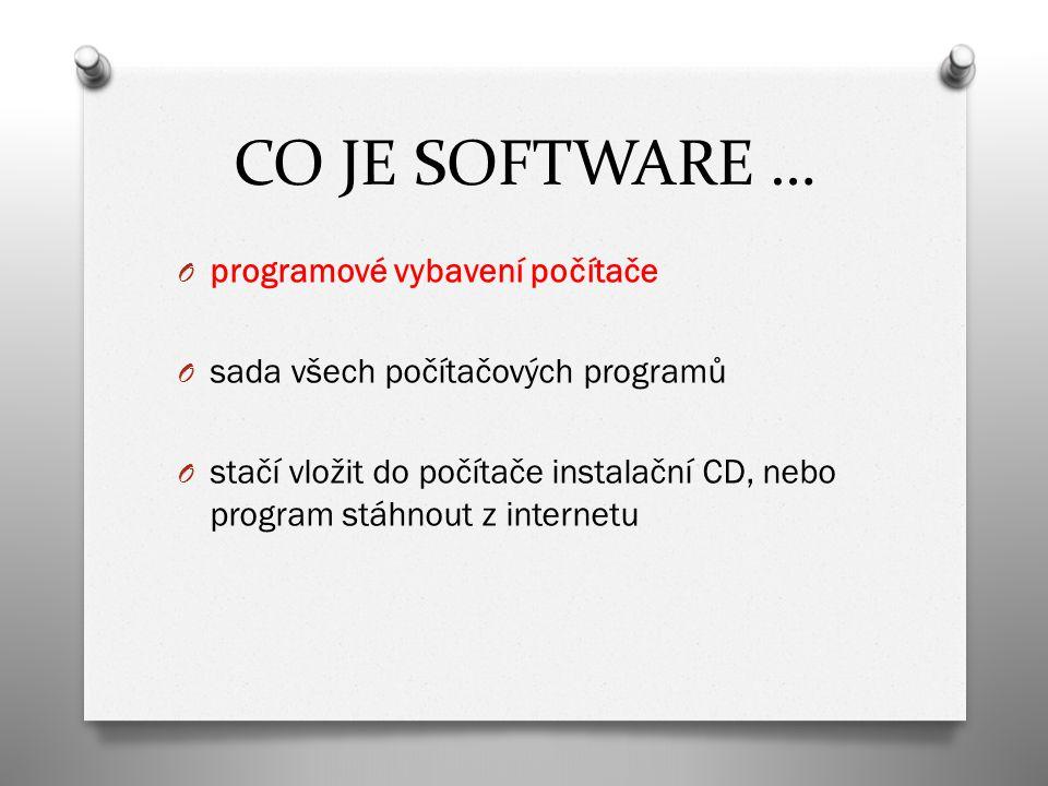 CO JE SOFTWARE … O programové vybavení počítače O sada všech počítačových programů O stačí vložit do počítače instalační CD, nebo program stáhnout z internetu