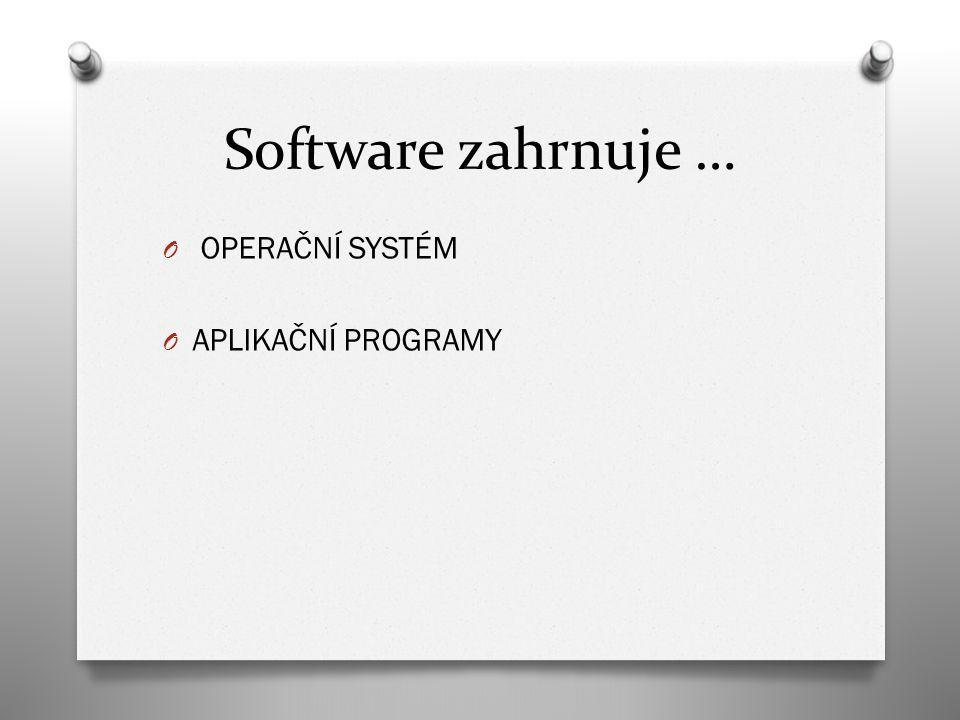 Software zahrnuje … O OPERAČNÍ SYSTÉM O APLIKAČNÍ PROGRAMY