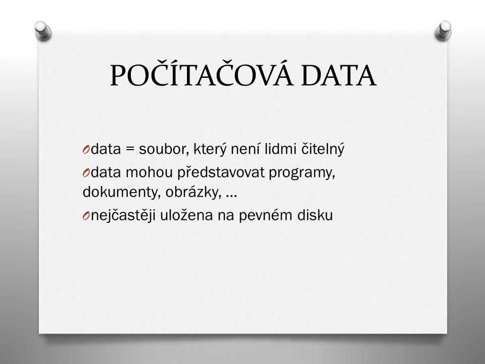 POČÍTAČOVÁ DATA O data = soubor, který není lidmi čitelný O data mohou představovat programy, dokumenty, obrázky, … O nejčastěji uložena na pevném disku