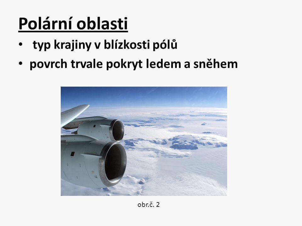Polární oblasti typ krajiny v blízkosti pólů povrch trvale pokryt ledem a sněhem obr.č. 2