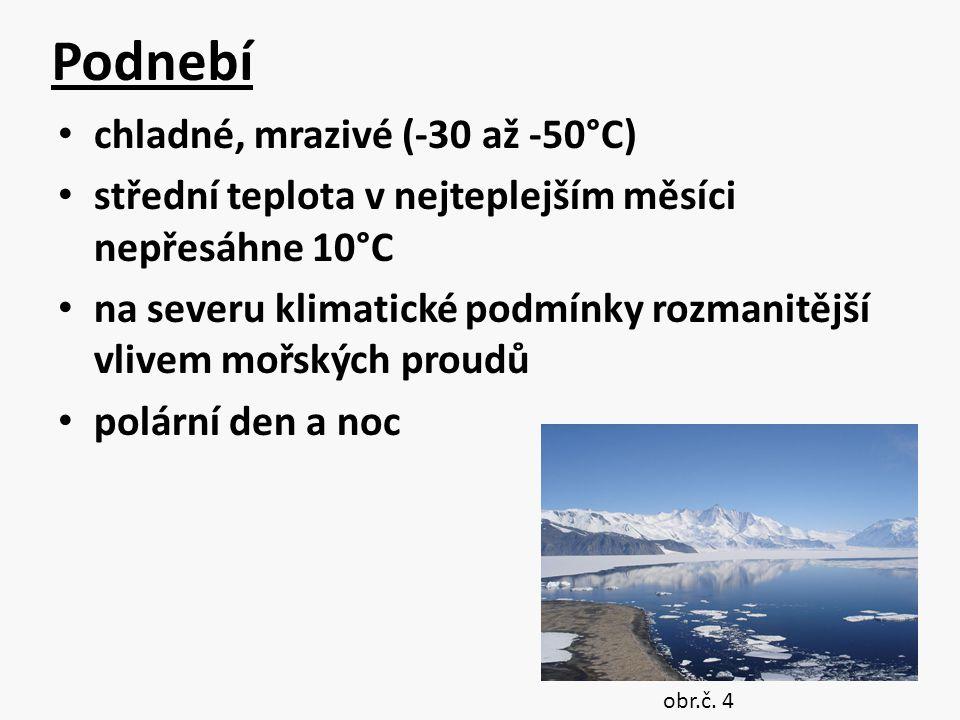 Podnebí chladné, mrazivé (-30 až -50°C) střední teplota v nejteplejším měsíci nepřesáhne 10°C na severu klimatické podmínky rozmanitější vlivem mořský