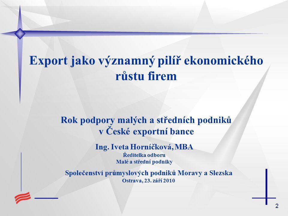 2 Export jako významný pilíř ekonomického růstu firem Rok podpory malých a středních podniků v České exportní bance Ing.