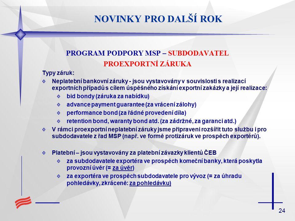 24 NOVINKY PRO DALŠÍ ROK PROGRAM PODPORY MSP – SUBDODAVATEL PROEXPORTNÍ ZÁRUKA Typy záruk: Neplatební bankovní záruky - jsou vystavovány v souvislosti s realizací exportních případů s cílem úspěšného získání exportní zakázky a její realizace: bid bondy (záruka za nabídku) advance payment guarantee (za vrácení zálohy) performance bond (za řádné provedení díla) retention bond, waranty bond atd.