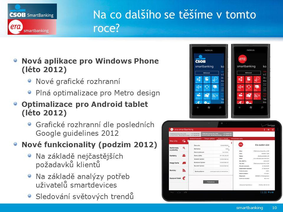 Na co dalšího se těšíme v tomto roce? smartbanking 10 Nová aplikace pro Windows Phone (léto 2012) Nové grafické rozhranní Plná optimalizace pro Metro